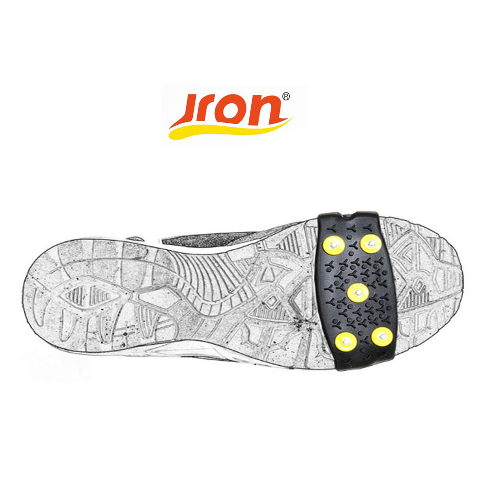 Jron 5 Pairs Traction Cleats for Walking on Snow and Ice Anti-slip Shoes Spikes Grips Cleats Crampons Climbing Ice Gripper round snow ice climbing mountaineering shoes crampons orange pair