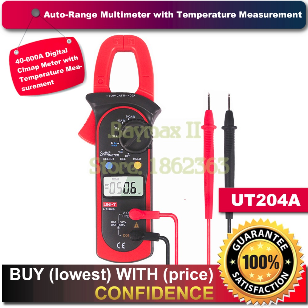 UNI T UT204A DC AC Voltage Current Digital Clamp Meter with Resistance Capacitance Frequency and Temperature