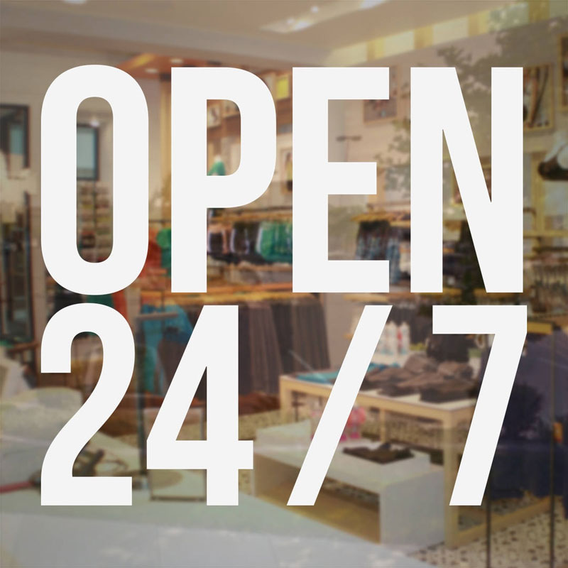Open 247 Store Business Hours Sign Vinyl Decal Custom Store Window