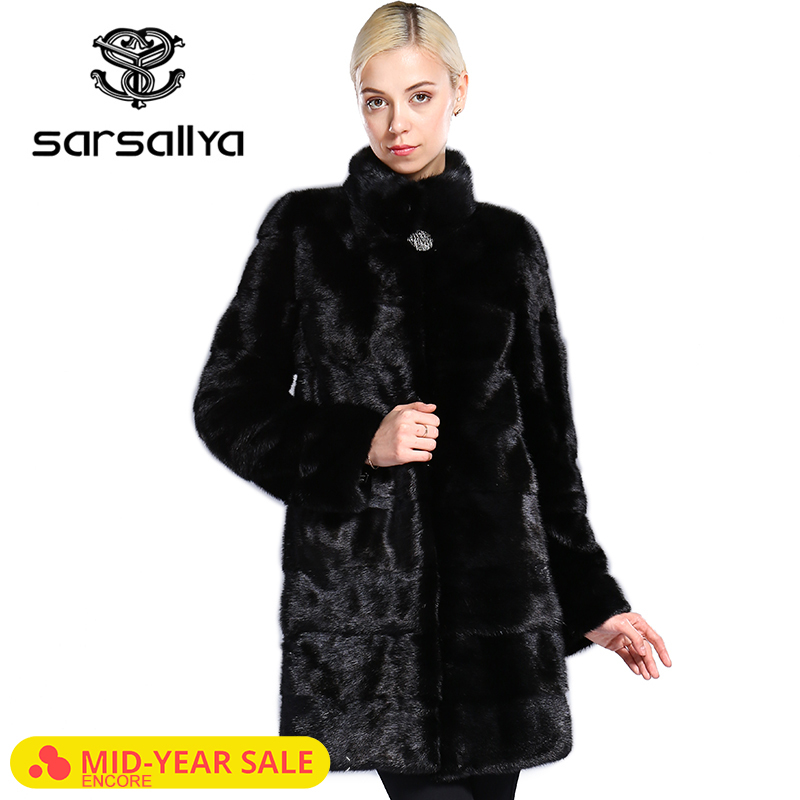 SARSALLYA Real Fur Style Fashion Fur Coat Genuine Leather Mandarin Collar Good Quality Mink Fur Coat Women Natural Black Coats(China)