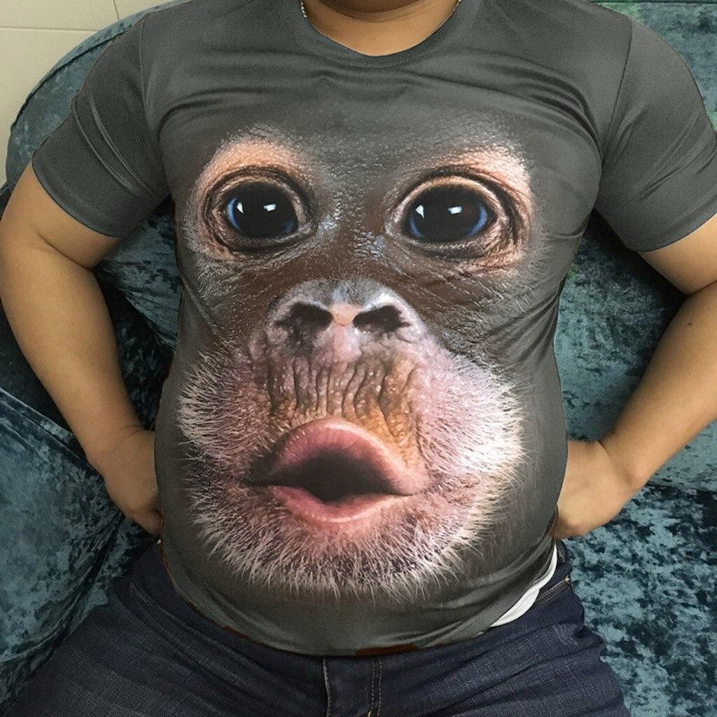 Men Spring Summer Men's T-Shirts 3D Printed Animal Monkey Tshirt Short Sleeve Funny Design Casual Tops Tees Male