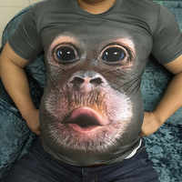 Uomo Primavera Estate degli uomini T-Shirt 3D Stampato Animale Scimmia tshirt Manica Corta Divertente Design casual Magliette e camicette Magliette Maschio