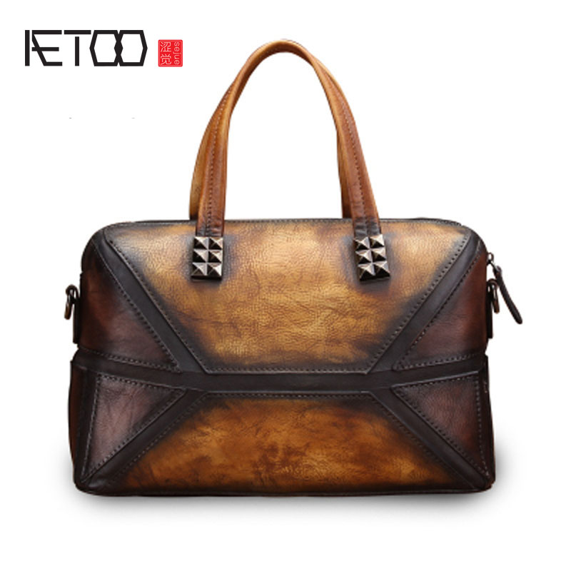 AETOO Handbags women's leather bag retro literary lady first layer of leather shoulder bag casual personality hit the color aetoo the new first layer of leather handbags leather lingge shoulder bag retro cowardly messenger bag female small square bag