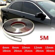 5 メートル外装車クロームボディストリップバンパー自動ドア保護成形スタイリングトリムステッカー 6 ミリメートル 10 ミリメートル 12 ミリメートル 15 ミリメートル 20 ミリメートル 25 ミリメートル 30 ミリメートル