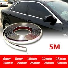 5M 외관 자동차 크롬 바디 스트립 범퍼 자동 도어 보호 몰딩 스타일링 트림 스티커 6MM 10MM 12MM 15MM 20MM 25MM 30MM