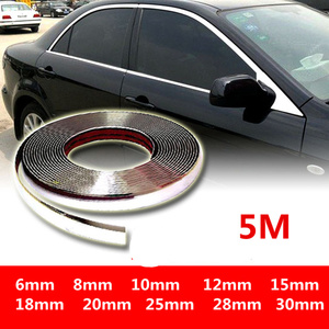 Image 1 - 5M Exterior Car Chrome Body Strip Bumper Auto Door Protective Moulding Styling Trim Sticker 6MM 10MM 12MM 15MM 20MM 25MM 30MM