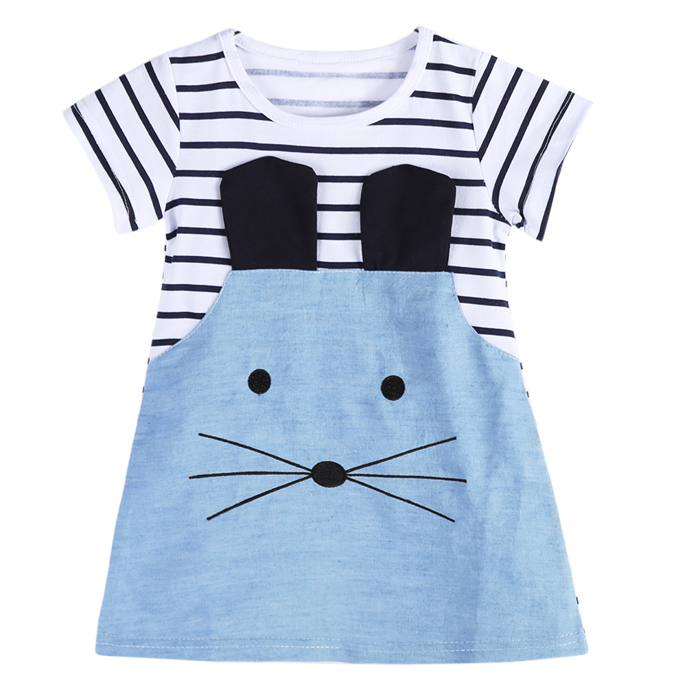 Striped Patchwork Character Girl Dresses Summer Cute Mouse Children Clothing Denim Kids Girls Dress Kids Casual Clothes 2-7Y
