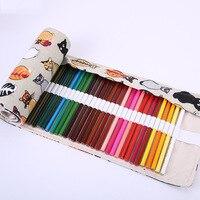 36 48 72 Holes Rolling Pen Case Pencil Box Bag Novelty Vintage Makeup Storage Cosmetic Promotional