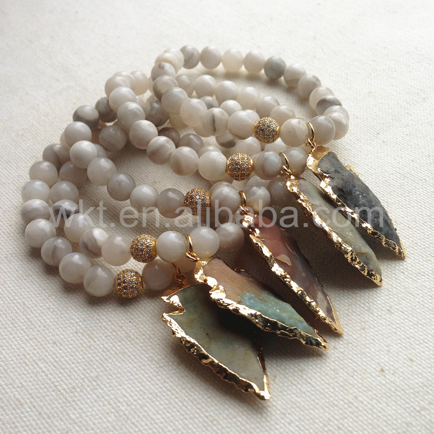 WT B257 Fashion Gold 8mm Beads Bracelet Wholesale Natural Grey Stone with gold Arrowhead Stone 8mm