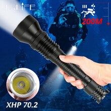 Profesyonel XHP70.2 LED dalış el feneri taşınabilir tüplü sualtı meşale 200m XHP70 IPX8 su geçirmez dalış lambası kullanımı 2x26650