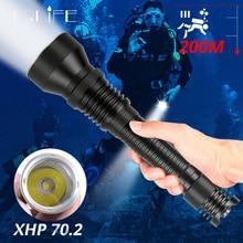 Профессиональный светодиодный фонарик XHP70.2 для дайвинга, портативный Подводный фонарь с аквалангом, 200 м, Водонепроницаемый погружной фонарь XHP70 IPX8, 2x26650
