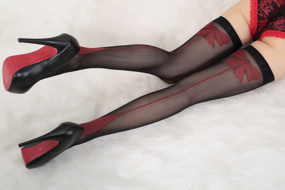 Fashion Red Bow Over Knee Stockings Sexy Lingerie Nightclub Women Tights