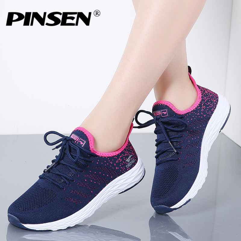 PINSEN 2019 Sneakers Women High Quality Breathable Lace-Up Casual Summer Shoes Woman Flats Shoes Basket Female zapatos hombrePINSEN 2019 Sneakers Women High Quality Breathable Lace-Up Casual Summer Shoes Woman Flats Shoes Basket Female zapatos hombre