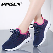 PINSEN 2019 Sneakers Women High Quality Breathable Lace-Up Casual Summer Shoes Woman Flats Shoes Basket Female zapatos hombre(China)