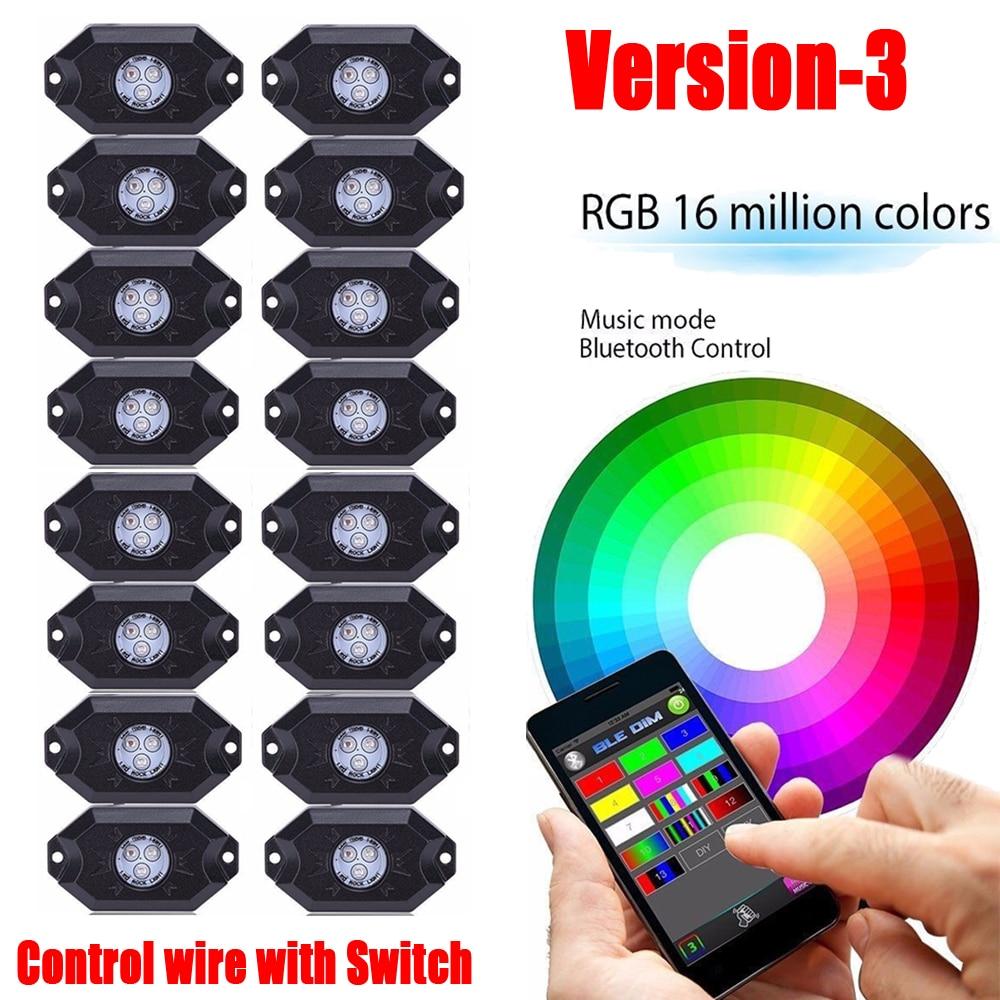 16Pcs RGB LED Rock Lights Wireless Bluetooth Music Flashing Multi Color Trucks