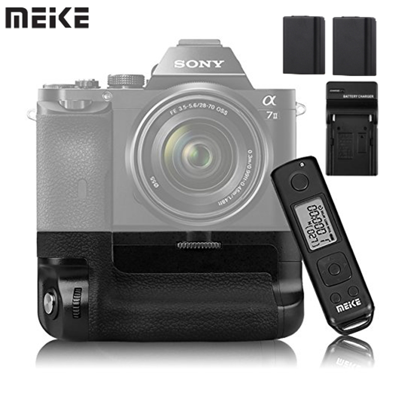 Meike MK-A7II Pro Built-In 2.4g Wireless Controllo Battery Grip With FW50 Battery Charger for Sony A7 II A7II A7SII A7MII A7RII