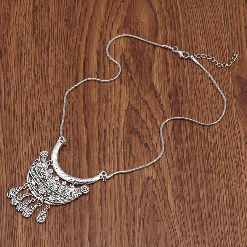 Seblasy Bohemia Geometric Tassel Necklaces Vintage Ethnic Carved Flower Statement Necklaces Pendants for Women Jewelry Collier
