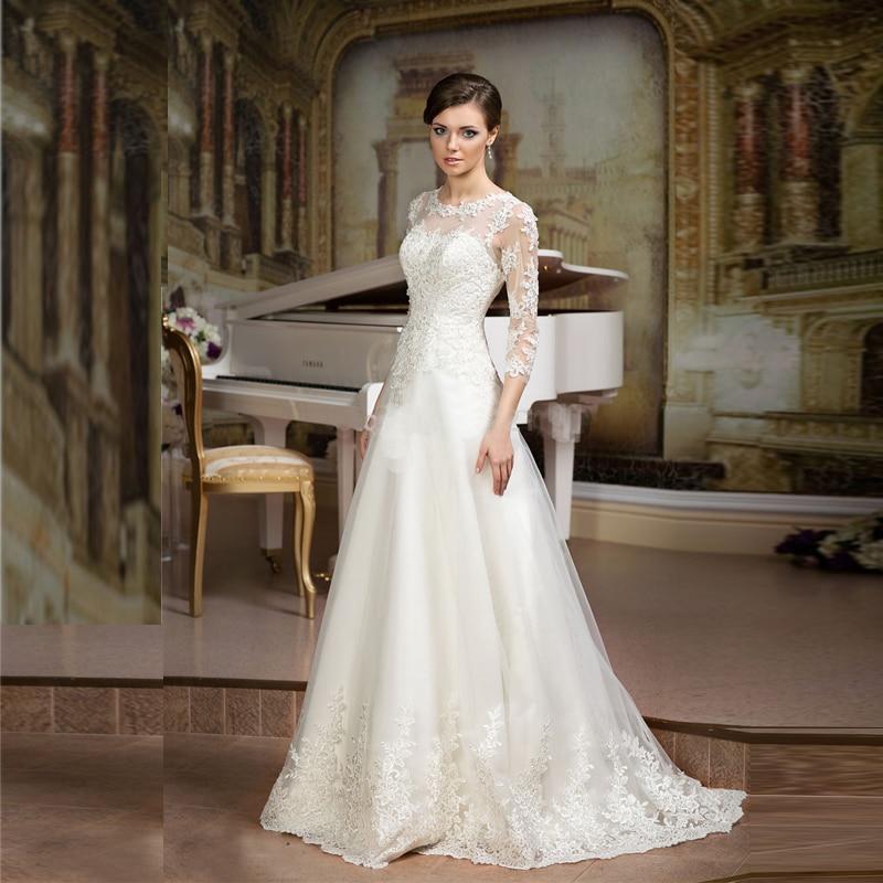 A Line White Tulle Wedding Dress 2017 Arabic Bridal: 2017 Elegant White/Ivory Sheer Lace Illusion Beaded Corset