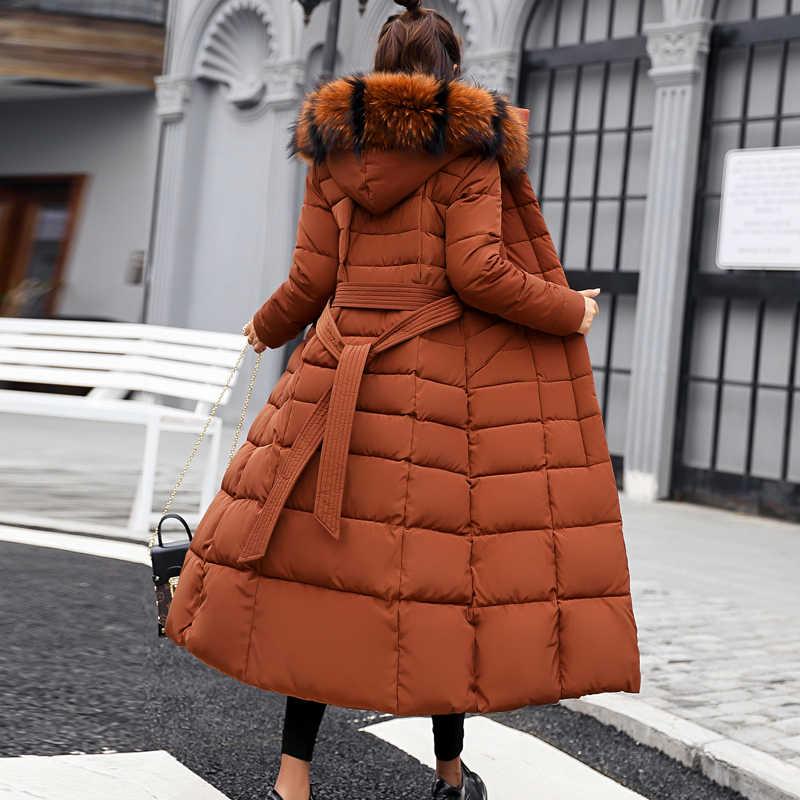 Ftlzz Vrouwen Lange Katoenen Parka False Bontkraag Kapmantel Winter Casual Slim Lange Gewatteerde Jassen Gewatteerd Sneeuw Overjas