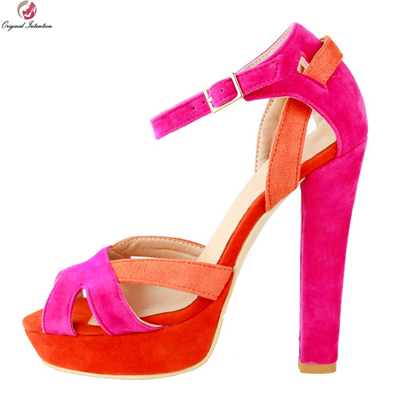 Original Intention Super Stylish Women Sandals Elegant Open Toe Square Heels Sandals Fashion Red Shoes Woman Plus US Size 4-20 original intention fashion women sandals open toe square heels sandals black red purple rose pink shoes woman plus us size 4 15