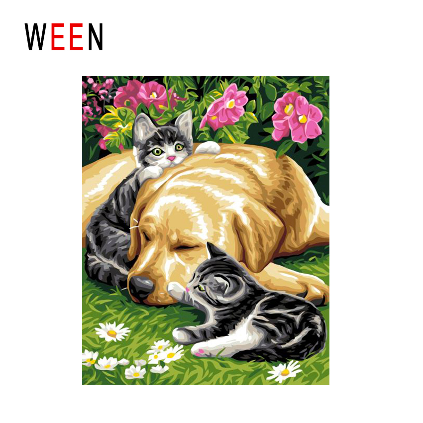 WEEN Dog Cat Together Diy Painting By Numbers Animal Oil Painting On Canvas Grassland Cuadros Decoracion Acrylic Wall Art Home in Painting Calligraphy from Home Garden