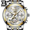 Многофункциональные механические часы Switzerland BINGER Tourbillon  автоматические часы с календарем на неделю  светящиеся скелетоны HD