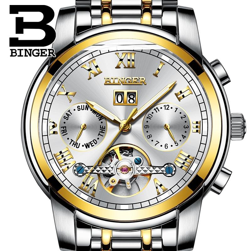 Multifunction Mechanical Watches Switzerland BINGER Tourbillon Watch Automatic Sapphire Week Calendar HD Luminous Skeleton watch