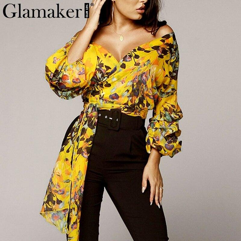 Glamaker Sexy boho yellow print chiffon blouse shirt Women long sleeve v neck elegant summer tops Female fashion casual blouse