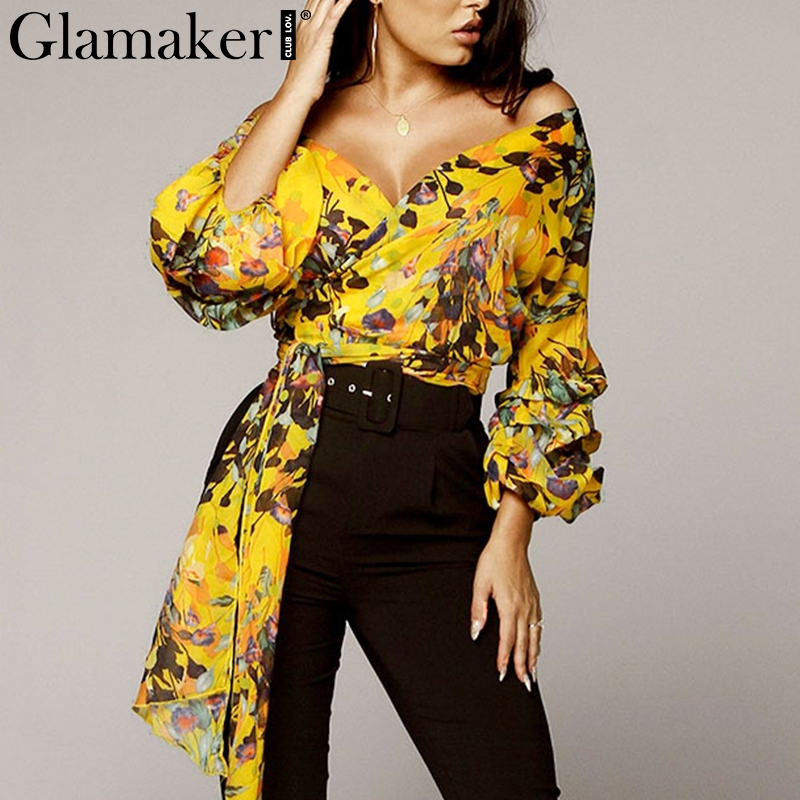 Glamaker Sexy boho yellow print chiffon   blouse     shirt   Women long sleeve v neck elegant summer tops Female fashion casual   blouse