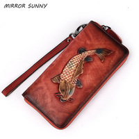 First Layer Cow Leather Women Long Wallet Genuine Leather Fish Print Clutch Handy Zipper Purse Vintage Female Wristband Wallet