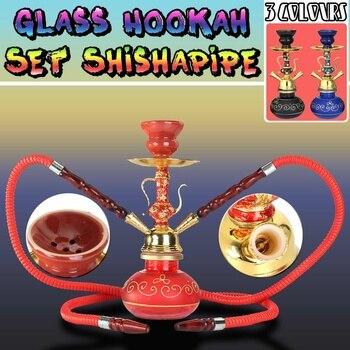3 цвета, двойная трубка для курения, стеклянная металлическая керамическая трубка-кальян, набор труб для кальяна, набор арабских чаш для кур...