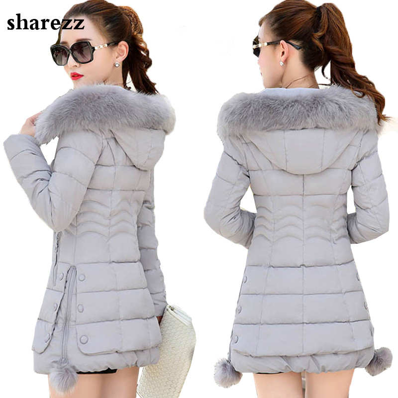 sharezz 2019 Faux Fur Down Jacket Plus Size Womens Parkas hooded Cotton padded