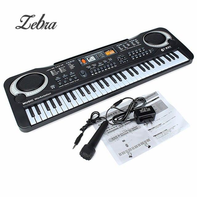 73d371146 Black 61 Keys Music Electronic Keyboard Key Board Kids Gift Electric Piano  Gift With Mini Microphone