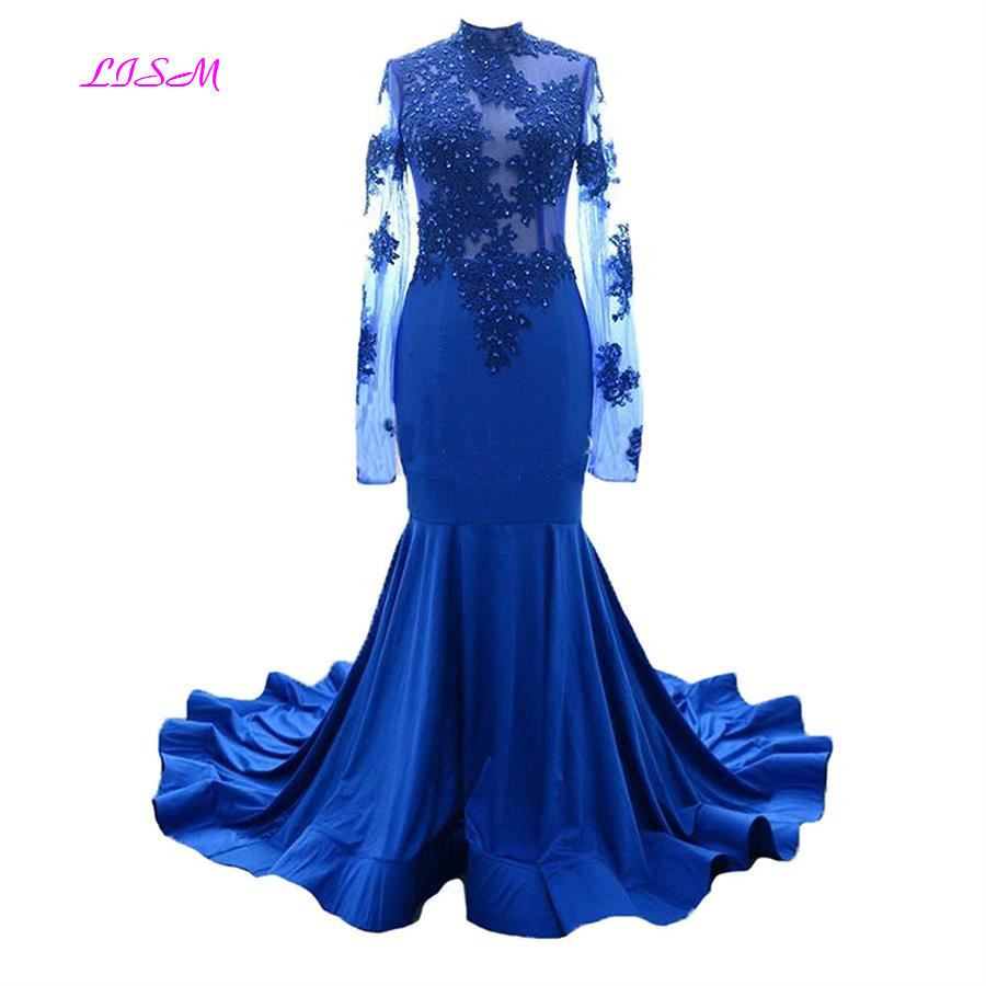 Illusion High Neck Mermaid Prom Dresses Beaded Lace Long Sleeves Evening Party Gowns Elegant Fishtail Sweep Train Formal Dress
