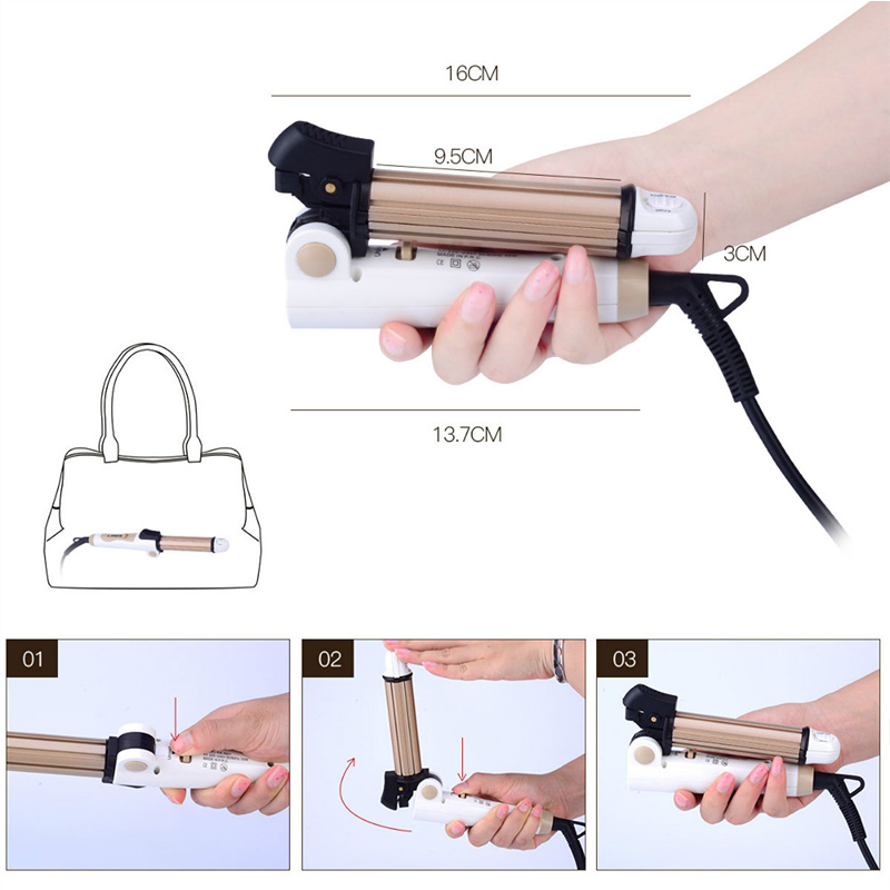Foldable Fast Hair Curling Iron Hair Straightener Hair Curler Corn Corrugated Waver Crimper Tongs Flat Iron Ceramic Plate Travel professional hair straightener waver straightening iron aluminum plate hair curler lcd display flat curling iron styling tools