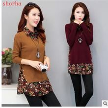 Осенне-зимние модные свитера для беременных с отложным воротником в стиле пэчворк, пуловеры с цветочным принтом, рубашка для беременных женщин