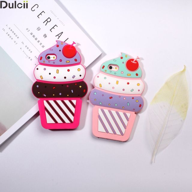Dulcii Case Cover for iPhone 5s 5 SE Shell Fundas Capa 3D Cherry Ice Cream Silicone Case Mobile Accessory for iPhone 5 Phone Bag