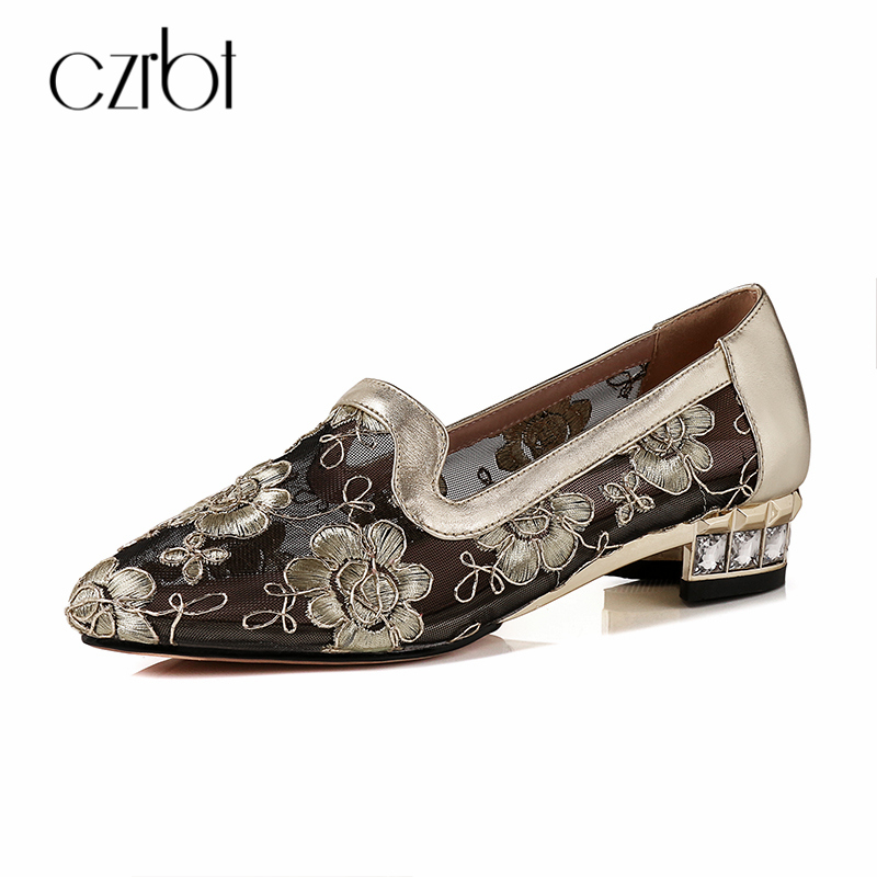 CZRBT 2018 Spring Summer Women Shoes Lace Embroidered Shallow Mouth Pumps Crystal High Heels 3cm Handmade Big Size Shoes koovan women pumps high heels 2017 spring autumn tide diamond tip fine single shoes satin pearl shallow mouth women sandals