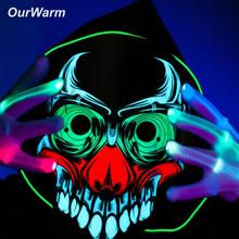 OurWarm Halloween LED Skeleton Mask Skull Clown Full Face  Party Horror Sound Activated