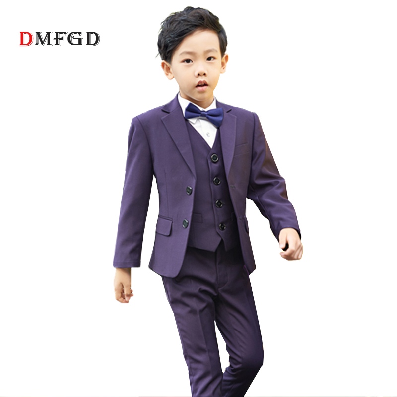 все цены на 5pcs/sets Fashion boys suit set blazers children clothes formal suits teenager purple coats uniform kids jacket clothing costume онлайн