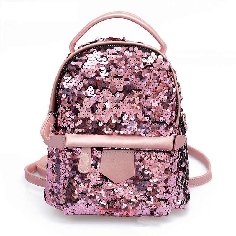 05f4f9407cd8 ANNRMYRS Новый 2018 Лето Мини блестки рюкзак Для женщин милый маленький  рюкзаки дамы Back Pack Дети