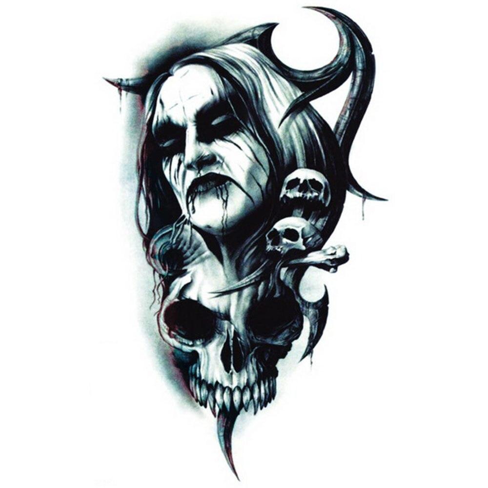Yeeech Temporary Tattoos Sticker for Men Women Waterproof Fake Transfer Demon Devil Skull
