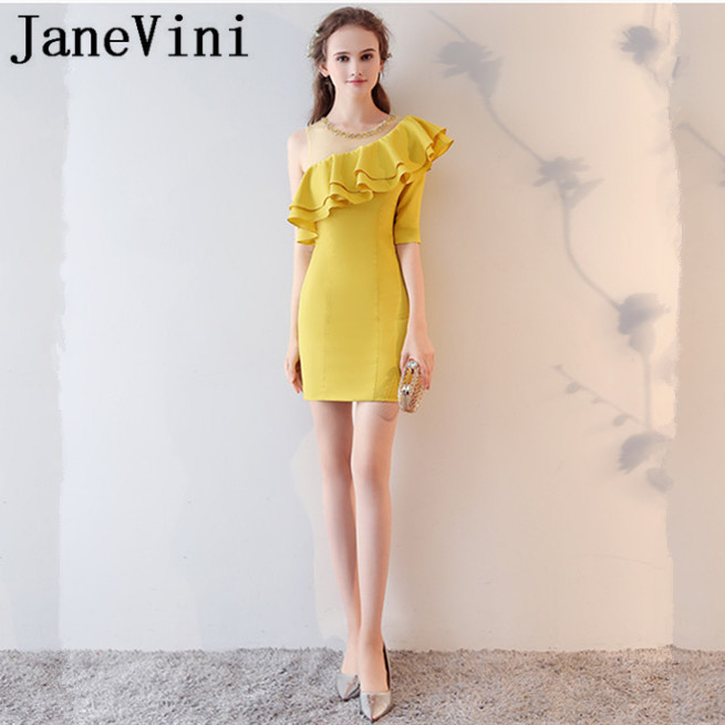 JaneVini 2018 Yellow Beaded Crystal Short   Bridesmaid     Dresses   Satin A-Line One Shoulder Sheer Neck Plus Size Wedding Guest Gowns
