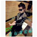 New DS Nightclub Singer Korean GD Right Zhi Long Same Paragraph Leopard Leather stitching Costumes Stage Jacket Coat  / M-XL