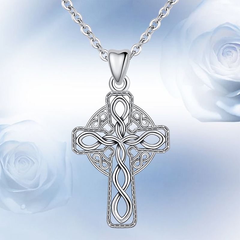925 Sterling Silver Polished /& Antiqued Blue CZ Cross Charm Pendant