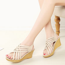 2019 new summer shoes women's sandals High heel Female Leisure Mother high heels Thick bottom fish mouth 7cm