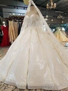 Image 3 - Ls14440 plus size marfim vestido de casamento com contas querida atacado beleza véu vestido de noiva simples curvo civil