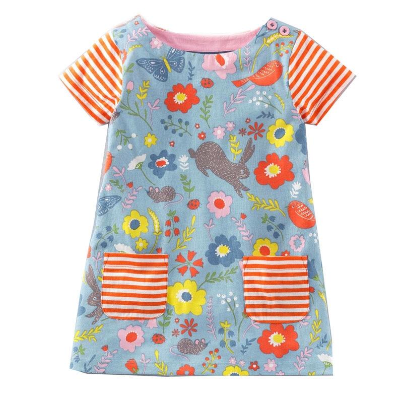 Girls Summer Dress Clothes Robe Fille Enfant 2018 Brand 100% Cotton Kids Costumes Animal Print Princess Birthday Dress Children