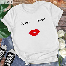2QIMU Brand Women 100% Coton T-Shirt Funny Print Casual Summer Top Tees For Women Fashion T-shirt Casual O-Neck Streetwear 2019 casual u neck ethnic print racerback top for women
