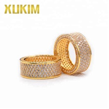 Xukim Jewelry Custom Hip Hop Gold Plating Iced Out Zircon Engagement Wedding Ring